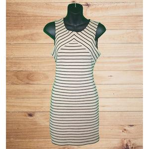 F21 Sleeveless Tan Bodycon Dress w Black Stripes